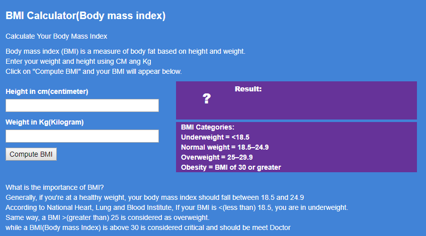 BMI Calculator|Body max Index Calculator|How do you find