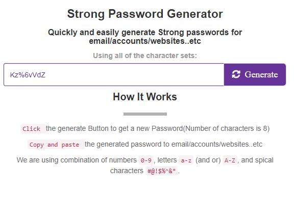 Strong Random Password Generator tool Secure and strong Password